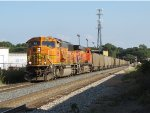 BNSF 8896 & 5792 roll west past Seymour and onto Track 1 with E945-03