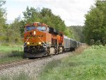 BNSF 6842 & 7468 lead the RBB&B circus train northward