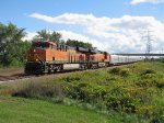 With a mile of circus cars behind them BNSF 6842 & 7468 near their destination with GDLK700