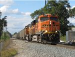 Rolling from Track 1 to the single main, BNSF 6033 & 9950 claw their way uphill with N956-17