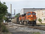 Just by Godfrey, BNSF 5909 & 5727 dig in as they start east with N956-20
