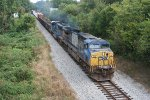 Q667 heading for a meet with a ballast train in Shands
