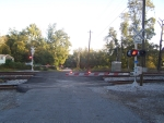 New railroad crossing gates