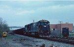 A westbound hopper train on the old Virginian mainline at Altavista.