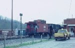 A westbound hopper train on the old Virginian mainline at Altavista picks up orders.