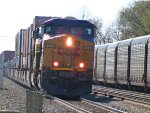 CSX Double Stack Passes Stopped Autorack