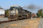 NS EB freight negociating the grade out of the yard