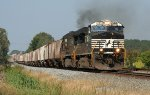 NS 60N negociating the grade out of the yard