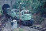 An O&W train exiting Spartanburg tunnel, headed south