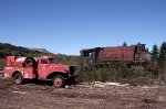 Steam locomotive and vintage fire truck
