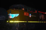 UP 8026 the third C45ACCTE on this UP Manifest Train Lights up Her UP Reflective Paint and Logo.