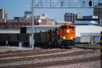 BNSF 9079 with the Hot Exhaust of Her Engine makes the corner on Main Track 2 to enter the BNSF Lincoln yard.