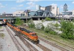 A rerouted BNSF intermodal train that usually runs on CSXs Lineville sub ran on NSs Birmingham East District and is switching over to the Griffin District to reach CSXs A&WP sub