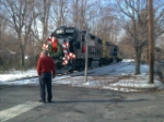 NS 5280 leads the Santa Train over Bowne Ave.