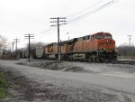 Just into the yard, BNSF 6145 leads N956-29 into the Service Track bound for a recrew at the tower