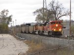 BNSF 9295 & 8936 work hard as they head east through Seymour off of Track 2 onto the single main