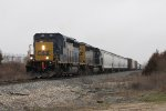 CSX 4034 & 4017 roll over the top of the hill at Fox towing the 37 cars of D707-03 east
