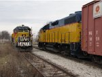 """2005 heads north with the Santa Express as 2004 sits in the siding with the """"Bah Humbug Train"""""""