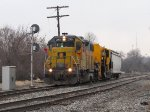 2004 rolls south into Fuller with the brand new plow built by Harsco in Ludington for the BNSF