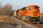 BNSF 9313 and bnsf 9392 haul a sb coal down the k line.