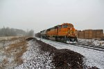 BNSF 8875 Heads into the Snow storm.