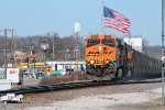 Old Glory fly's on as a loaded coal leaves Elsberry Mo.