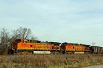 BNSF 5342 and siter dash 9 sit in the siding for track equiment to clear up.