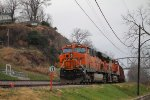 BNSF 7343 Sits tied down on a rock train.