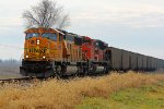 BNSF 9900 leads a empty coal train Nb,