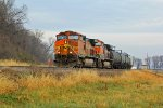 BNSF 5233 heads up a small freight sb.