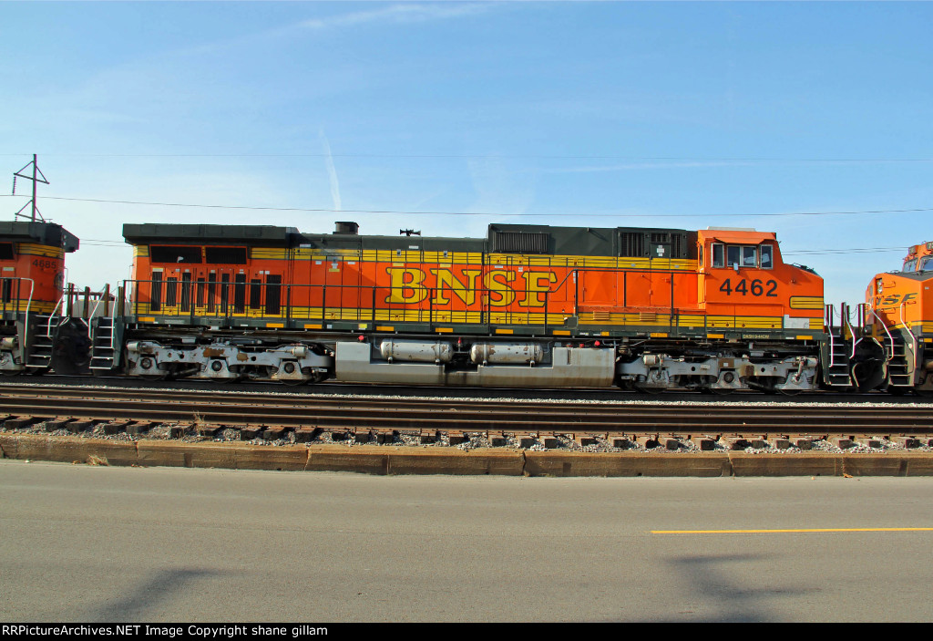 BNSF 4462 is the 2nd unit on a freight train.