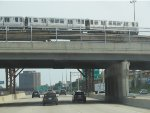 CTA Green Line Train on the Englewood Branch Crossing over the Dan Ryan Expressway