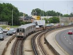 CTA Blue Line Train Coming Around The Nagle Curve of the Kennedy Expressway