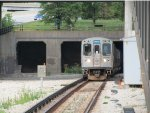 CTA Blue Line Train Pulling Out of The Subway Tunnel near UIC-Halsted