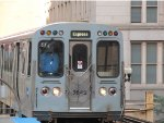 CTA Purple Line Express Train with Express Sign