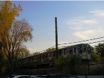 CTA Purple Line Train Cruising Through Evanston