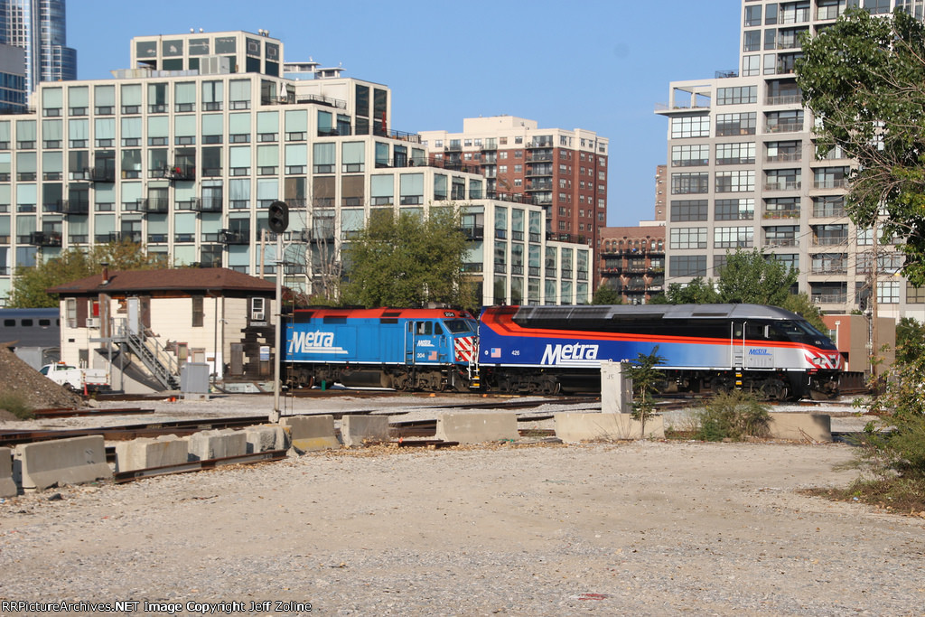 Metra Rock Island Double Train passing the 16th Street Tower