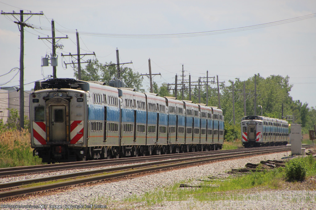 Old Metra Electric Highliner Trains along the Vincennes Branch of the Metra Rock Island Line near 115th Street