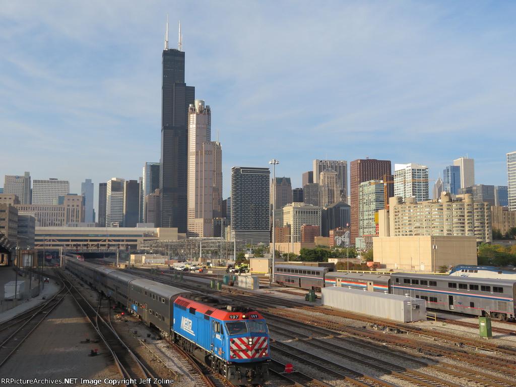 Metra Train and Chicago Skyline