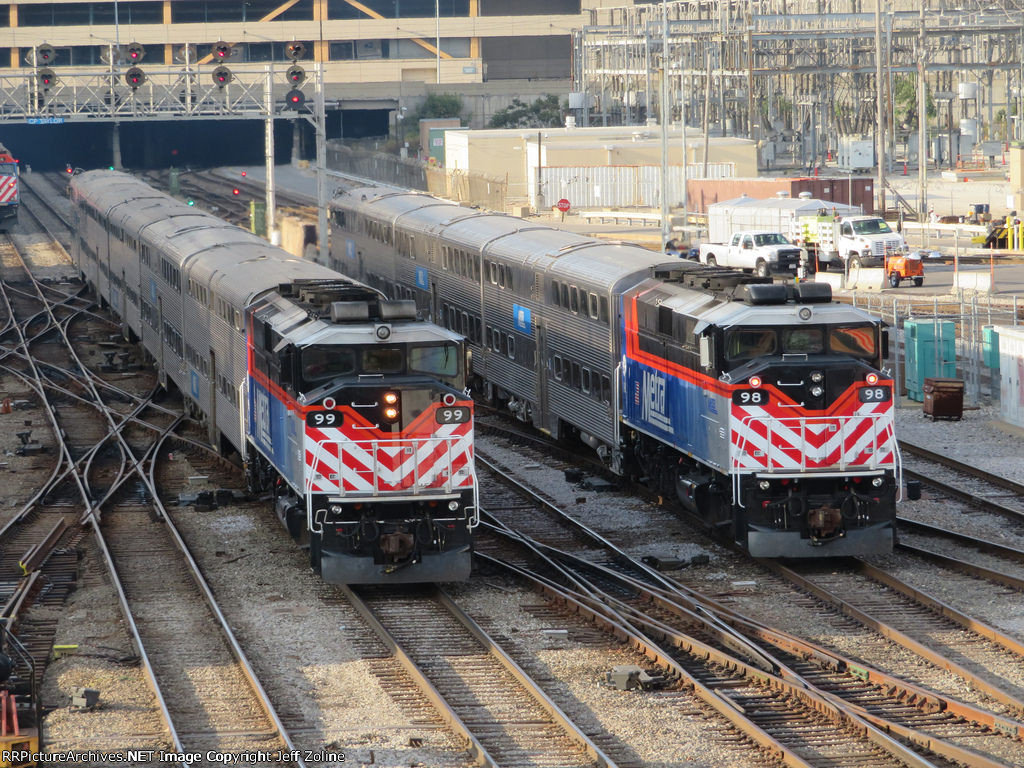 Metra Twins pulling out of Union Station