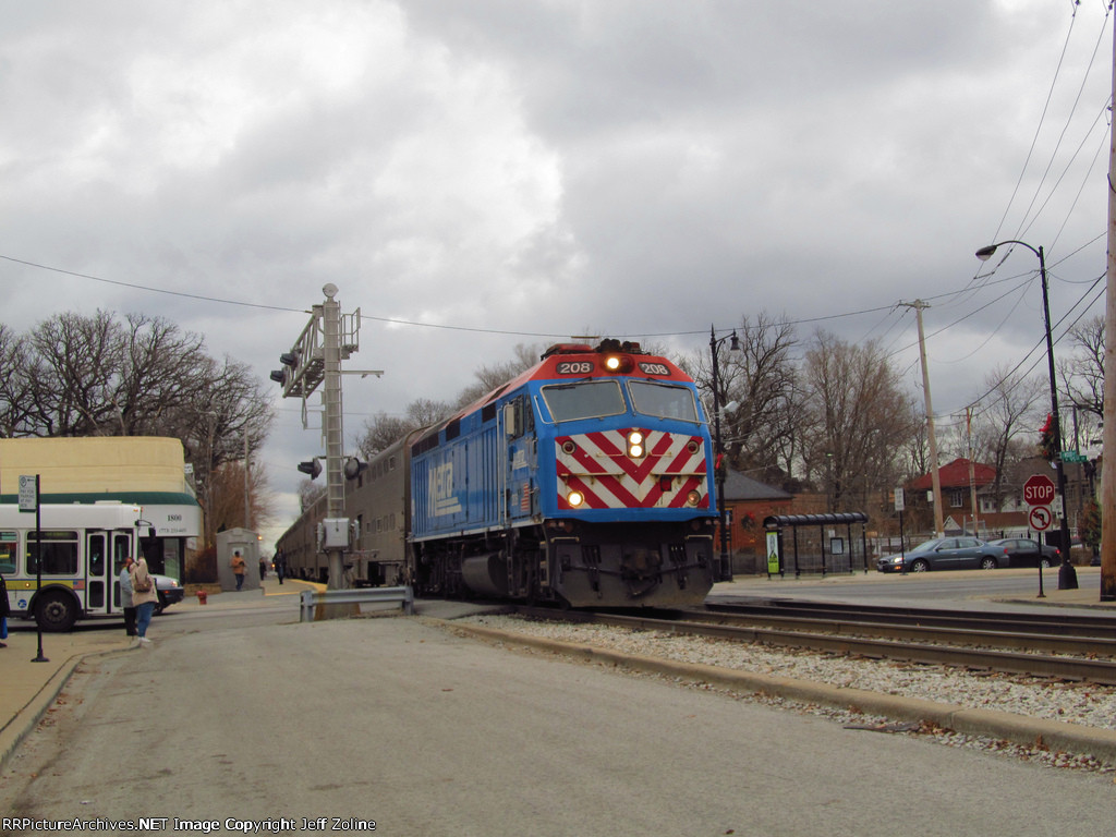 Metra Rock Island Train passing 95th Street Beverly Hills on the Rock Island Line
