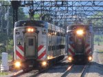 Twin Metra Electric Highliner trains near 47th Street
