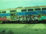 Graffiti Covered Metra Electric cars in the 47th Street Rock Island Yard