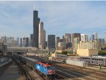 Metra Train and Chicago Skyline