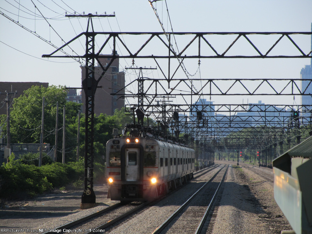 South Shore Line Train speeding past 47th Street