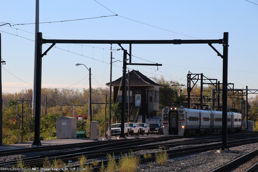NICTD South Shore Line Train passing through the Kensington Junction