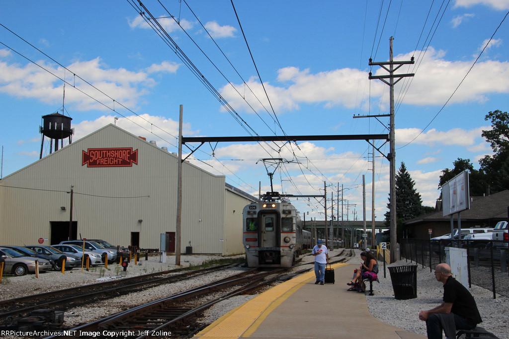 NICTD South Shore Line Train at the Carroll Avenue Yard
