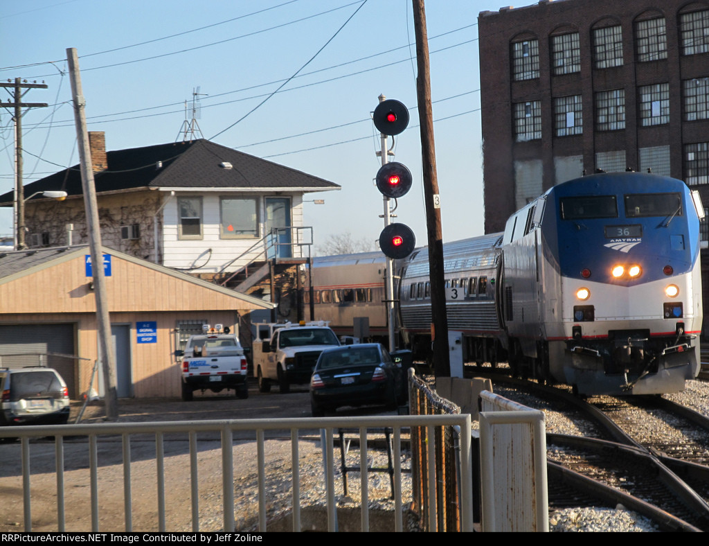 Amtrak Train passing the Metra Western Avenue Tower (A-2 Interlocking) in Chicago