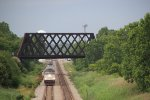 Amtrak Hiawatha Train passing under the Northbrook Union Pacific Railroad Bridge