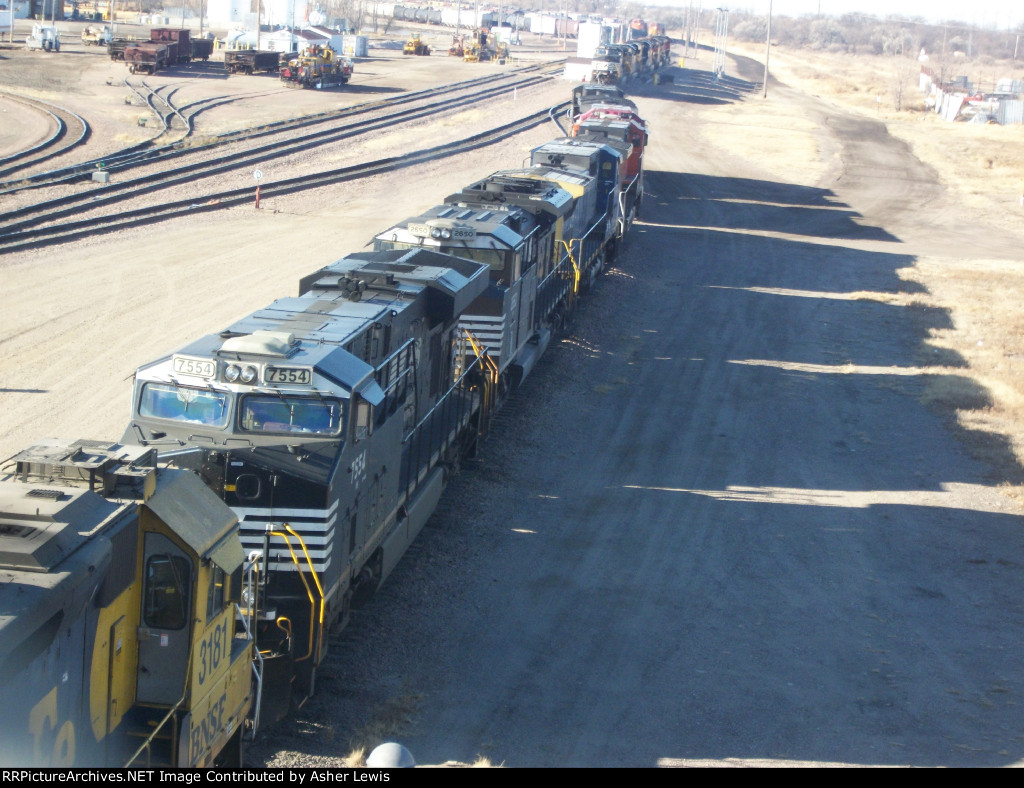 NS 7554 & 2650 with CSX and BNSF locomitives